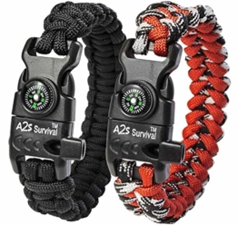 """A2S Protection Paracord Bracelet K2-Peak – Survival Gear Kit with Embedded Compass, Fire Starter, Emergency Knife & Whistle (Black/Red 8.5"""") - 1"""