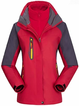 AbelWay Women's Mountain Waterproof Windproof Fleece 3 in 1 Jacket Ski Hooded Rain Coat(Red,S) - 1