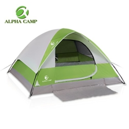 ALPHA CAMP 4 Person Camping Tent with Mud Mat - Dome Design 9' x 7' Green - 1