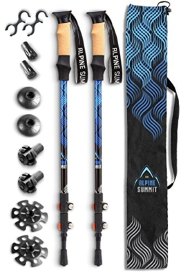 Alpine Summit Hiking/Trekking Poles With Anti-Shock Tips, Walking Sticks with Strong and Lightweight 7075 Aluminum and Cork Grips - Enjoy The Great Outdoors - 1