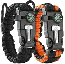 ATOMIC BEAR Paracord Bracelet (2 Pack) – Adjustable Size – Fire Starter – Loud Whistle – Emergency Knife – Perfect for Hiking, Camping, Fishing and Hunting – Black & Black+Orange - 1