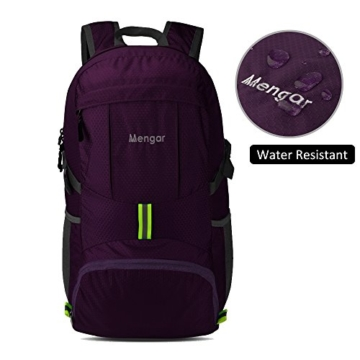 Backpack Daypack,Travel Backpack, Mengar 35L Foldable Water Resistant Packable Backpack Hiking Daypack - Ultralight and Handy & Lifetime Warranty (Purple) - 2