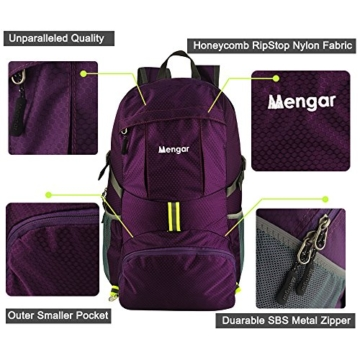 Backpack Daypack,Travel Backpack, Mengar 35L Foldable Water Resistant Packable Backpack Hiking Daypack - Ultralight and Handy & Lifetime Warranty (Purple) - 3