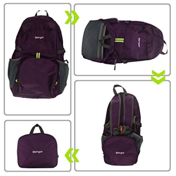 Backpack Daypack,Travel Backpack, Mengar 35L Foldable Water Resistant Packable Backpack Hiking Daypack - Ultralight and Handy & Lifetime Warranty (Purple) - 4
