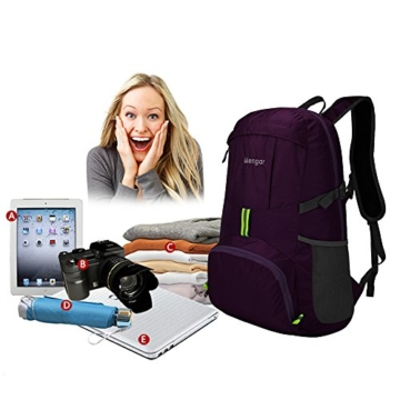 Backpack Daypack,Travel Backpack, Mengar 35L Foldable Water Resistant Packable Backpack Hiking Daypack - Ultralight and Handy & Lifetime Warranty (Purple) - 5