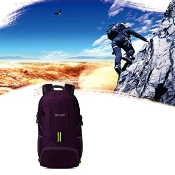 Backpack Daypack,Travel Backpack, Mengar 35L Foldable Water Resistant Packable Backpack Hiking Daypack - Ultralight and Handy & Lifetime Warranty (Purple) - 6