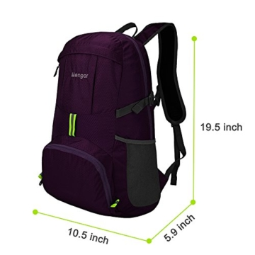 Backpack Daypack,Travel Backpack, Mengar 35L Foldable Water Resistant Packable Backpack Hiking Daypack - Ultralight and Handy & Lifetime Warranty (Purple) - 7