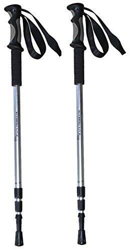 BAFX Products - 2 Pack - Anti Shock Hiking/Walking / Trekking Trail Poles - 1 Pair - Silver - 1