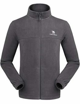 CAMEL CROWN Men Full Zip Fleece Jackets with Pockets Soft Polar Fleece Coat Jacket for Fall Winter Outdoor Grey L - 1