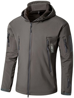Camo Coll Men's Outdoor Soft Shell Hooded Tactical Jacket (L, Dark Gray) - 1