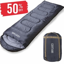 CERTAMI Sleeping Bag -Envelope Lightweight Portable Waterproof,for Adult 3 Season Outdoor Camping Hiking. (Dark Grey/Left Zip) - 1