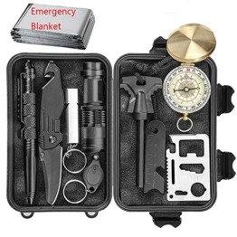 CHANGKU EILIKS Emergency Survival Kits 11 in 1, CHANGKU Multi Professional Tactical Kit Outdoor Survival Gear Kit for Traveling Hiking Biking Climbing Hunting - 1