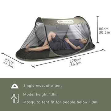 Dimples Excel Single Instant Pop Up Mosquito Net Automatic Self-expanding Tent for Outdoor, Beach, Hiking, Traveling, Backyard, Backpacking (Automatic tent - army green) - 3