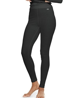 Duofold Women's Mid Weight Wicking Thermal Leggings, Black, X Large - 1