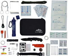 Echo Sierra Emergency Survival Camping and Hiking Kit w/Personal Water Filter Survival Straw and First-Aid Kit - 1