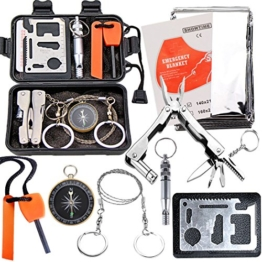 EMDMAK Survival Kit Outdoor Emergency Gear Kit for Camping Hiking Travelling or Adventures (Black) - 1