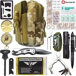 EVERLIT Emergency Survival Kit 40-in-1 Molle Pouch, Tactical Outdoor Gears, First Aid Supply, Survival Bracelet, Emergency Blanket, Tactical Pen, Fire Starter, Plier, for Camping, Hiking, Hunting - 1
