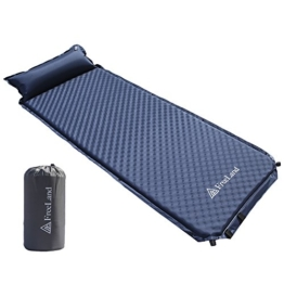 Freeland Camping Sleeping Pad Self Inflating with Attached Pillow, Compact, Lightweight, Large, Dark Navy Blue Color - 1