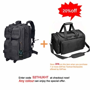 G4Free Sport Outdoor military backpack tactical backpack molle backpack military rucksack Camping Hiking Trekking Bag Custom Design 40L (Black) - 2