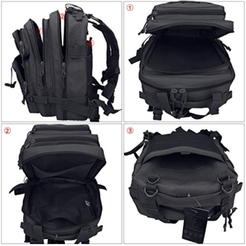 G4Free Sport Outdoor military backpack tactical backpack molle backpack military rucksack Camping Hiking Trekking Bag Custom Design 40L (Black) - 4