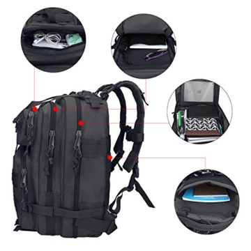 G4Free Sport Outdoor military backpack tactical backpack molle backpack military rucksack Camping Hiking Trekking Bag Custom Design 40L (Black) - 5