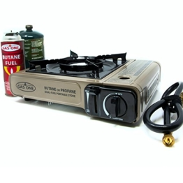 Gas ONE Propane or Butane Stove GS-3400P Dual Fuel Portable Camping and Backpacking Gas Stove Burner with Carrying Case Great for Emergency Preparedness Kit (Gold) - 1