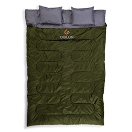 Gideon Extreme Waterproof Backpacking Double Sleeping Bag 2 Pillows – Amazingly Lightweight, Compact, Comfortable & Warm Backpacking, Camping, etc. Double Size Convert into 2-Single Bags - 1