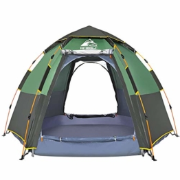 Hewolf Camping Tents 2-4 Person [Instant Tent] Waterproof [Double Layer][Quick Setup] Family Beach Dome Tent UV Protection with Carry Bag (Green, 4-5) - 1