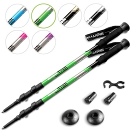 High Trek Quality Ultralight Trekking Poles w/Sweat Absorbing EVA Grips - Your collapsible Hiking/Walking Sticks come with Tungsten Tips and Flip Locks - Enjoy the Outdoors - 1