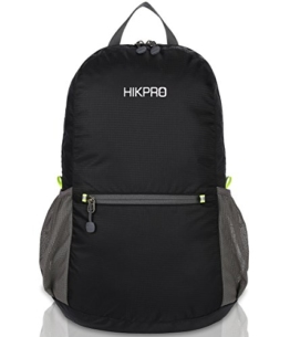HIKPRO Unisex Ultralight Handy Packable Backpack, Black, 6.5 Oz - 1
