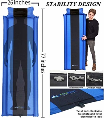 IFORREST Sleeping Pad with Armrest & Pillow – Never let Your Arms & Feet Feel The Ground - Comfortable Self-Inflating Air Mattress for Camping, Hiking, Traveling and Backpacking! - 3