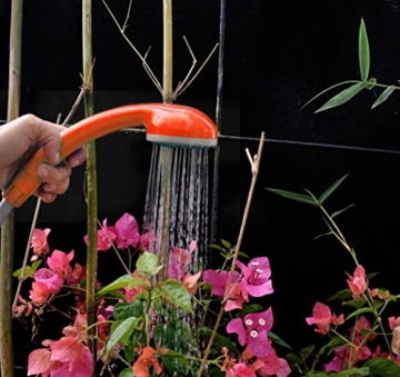 Ivation Portable Outdoor Shower, Battery Powered - Compact Handheld Rechargeable Camping Showerhead - Pumps Water from Bucket Into Steady, Gentle Shower Stream - 7