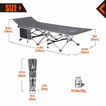 KingCamp Strong Stable Folding Camping Bed Cot Carry Bag (Grey Side Pocket) - 3