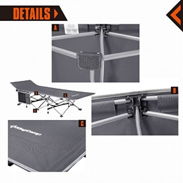 KingCamp Strong Stable Folding Camping Bed Cot Carry Bag (Grey Side Pocket) - 7