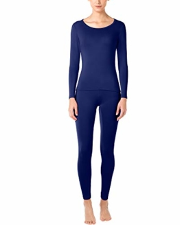 LAPASA Women's Lightweight Thermal Underwear Long John Set Fleece Lined Base Layer Top and Bottom L17 (X-Small, Navy) - 1