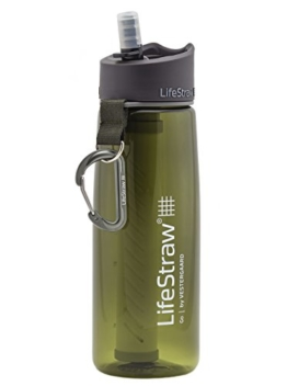 LifeStraw Go Water Filter Bottle with 2-Stage Integrated Filter Straw for Hiking, Backpacking, and Travel, Green - 1