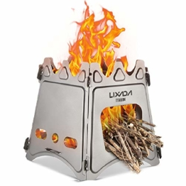 Lixada Camping Stove, Portable Folding Wood Stove Lightweight Stainless Steel Alcohol Stove for Outdoor Cooking Backpacking Stove (Titanium Stove) - 1