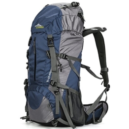 Loowoko Hiking Backpack 50L Travel Daypack Waterproof with Rain Cover for Climbing Camping Mountaineering (Dark Blue) - 1