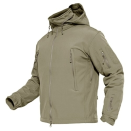 MAGCOMSEN Mens Outdoor Jacket Hiking Camping Jacket Fleece Jacket Windproof Ski Jacket with Hood Khaki - 1