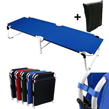 Magshion Portable Military Fold Up Camping Bed Cot with  Storage Bag, Blue - 1