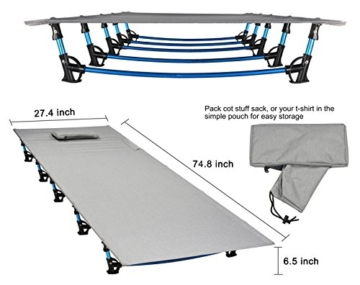 MARCHWAY Ultralight Folding Tent Camping Cot Bed, Portable Compact for Outdoor Travel, Base Camp, Hiking, Mountaineering, Lightweight Backpacking (Grey) - 2