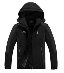 Men's Mountain Fleece Ski Jacket Winter Softshell Windproof Hiking Coat Waterproof Rain Jacket(M15268-Black-S) - 1