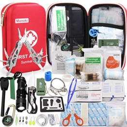 Monoki First Aid Kit Survival Kit, 241Pcs Upgraded Outdoor Emergency Survival Kit Gear - Medical Supplies Trauma Bag Safety First Aid Kit for Home Office Car Boat Camping Hiking Hunting Adventures - 1