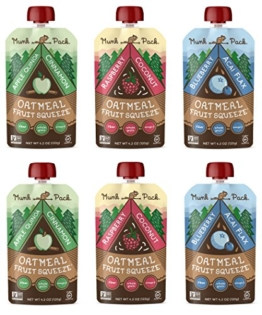 Munk Pack Oatmeal Fruit Squeeze | Variety Pack, Ready-to-Eat Oatmeal On The Go, 4.2 oz, 6 Pack - 1