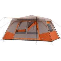 Ozark Trail 11 Person 3 Room 14' x 14' Instant Cabin Tent, Orange, Spacious that can Fit Two Queen Airbeds, Made of Durable Polyester and Steel, Camping, Outdoor - 1