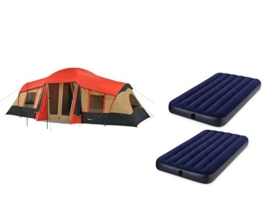 OZARK Trail Family Cabin Tent (Red,Brown,Black, 10 Personw with Airbed) - 1