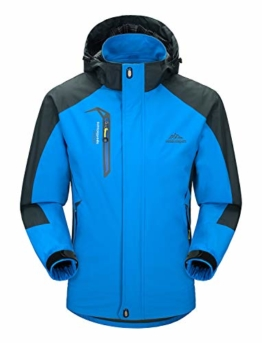 Rdruko Men's Outdoor Sports Hooded Softshell Hiking Traveling Mountaineer Windproof Fleece Lined Jacket(Blue,US L) - 1
