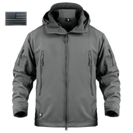 ReFire Gear Mens Army Special Ops Military Tactical Jacket Softshell Fleece Hooded Outdoor Coat,Gray,X-Large - 1