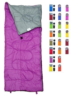 REVALCAMP Lightweight Violet/Purple Sleeping Bag Indoor & Outdoor use. Great for Kids, Youth & Adults. Ultralight and Compact Bags are Perfect for Hiking, Backpacking, Camping & Travel. - 1