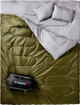 Sleepingo Double Sleeping Bag for Backpacking, Camping, Or Hiking. Queen Size XL! Cold Weather 2 Person Waterproof Sleeping Bag for Adults Or Teens. Truck, Tent, Or Sleeping Pad, Lightweight - 1
